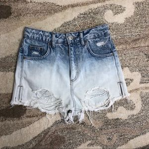 TOPSHOP Moto MOM High Waisted Ripped Jean Shorts